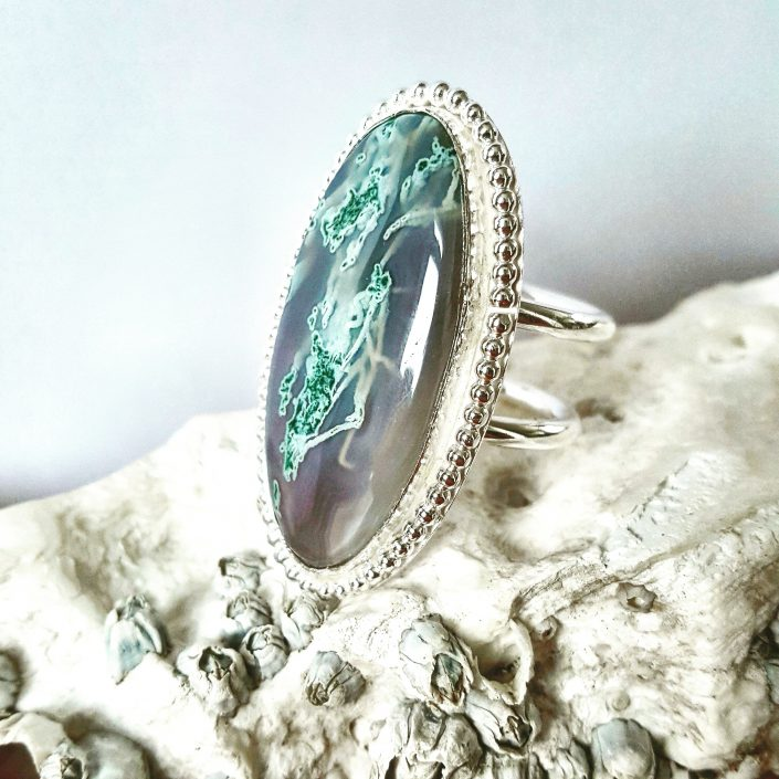 photograph of moss agate ring