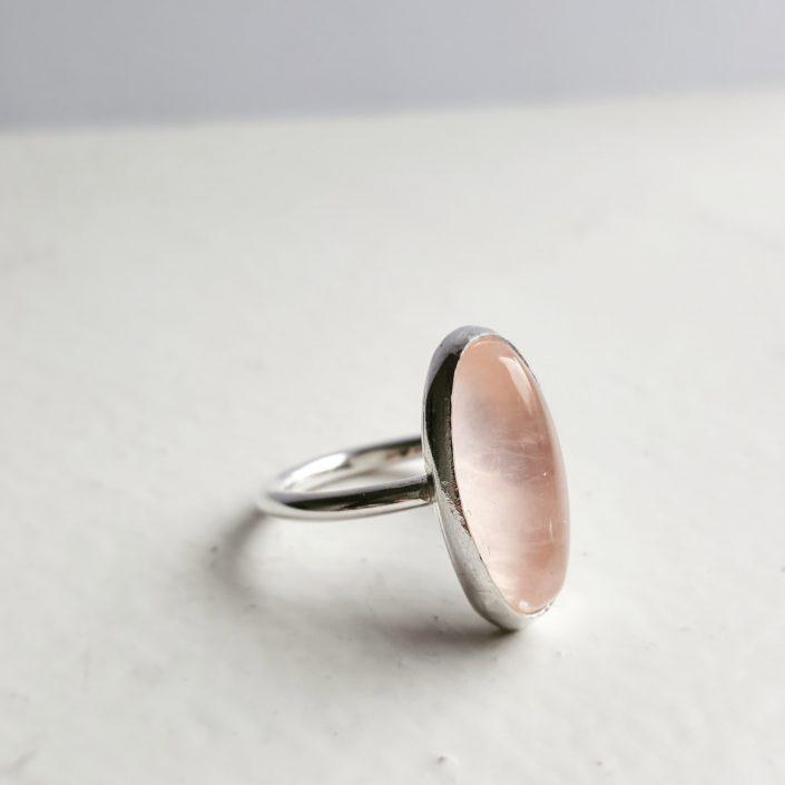 photograph of rose quartz ring