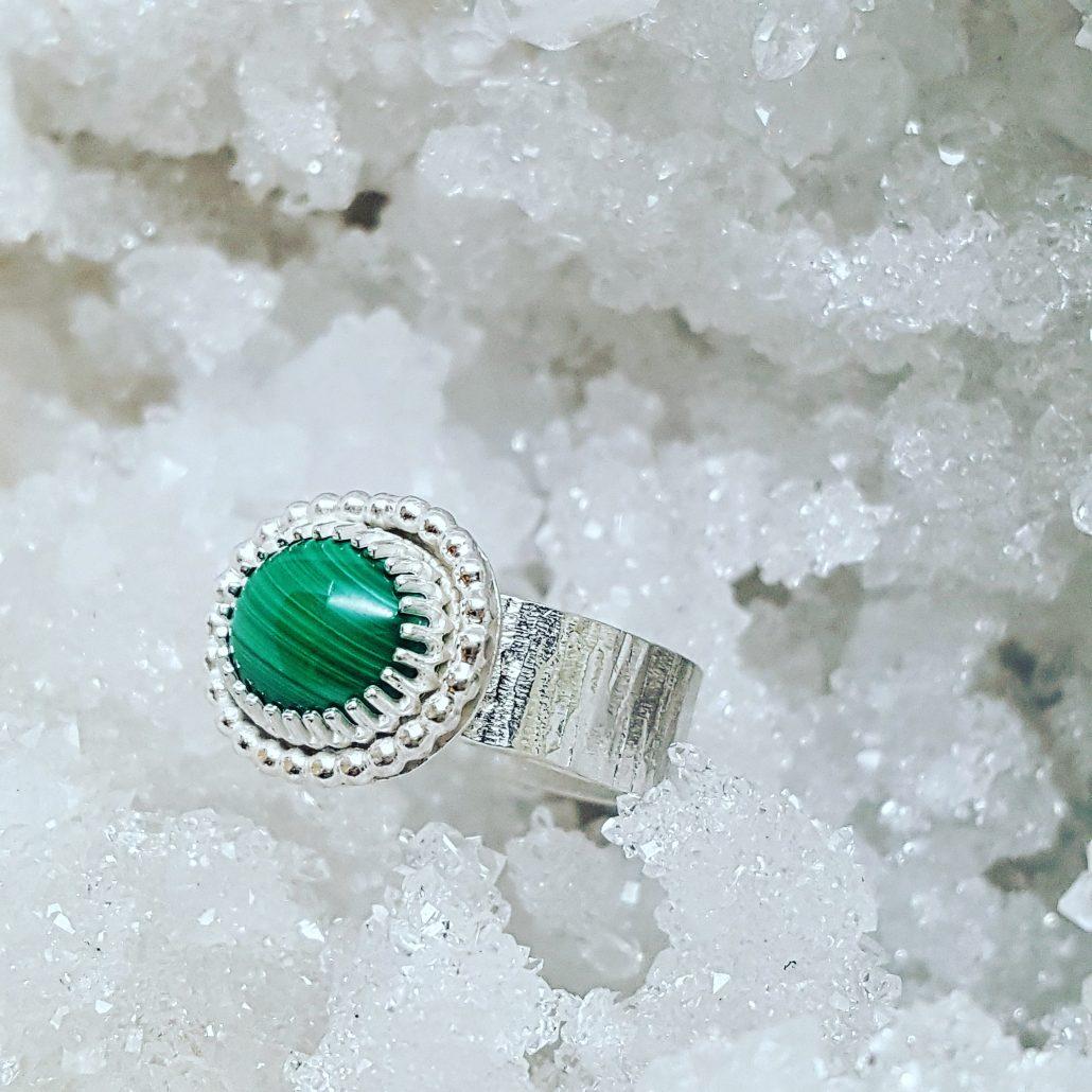 photograph of malachite ring