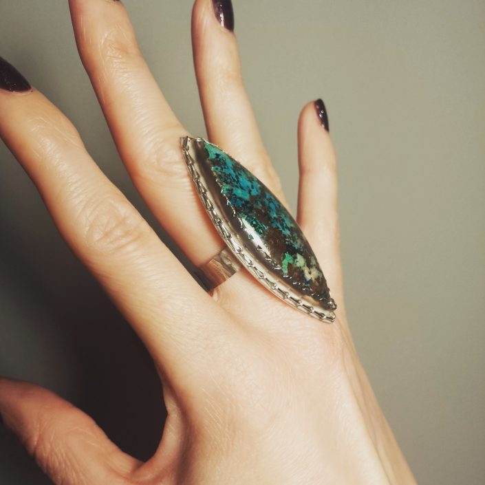 Photograph of large marquis azurite ring