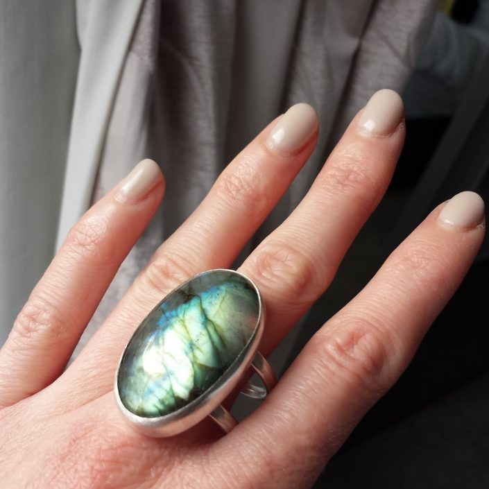 Photograph of Large Oval Labradorite Ring