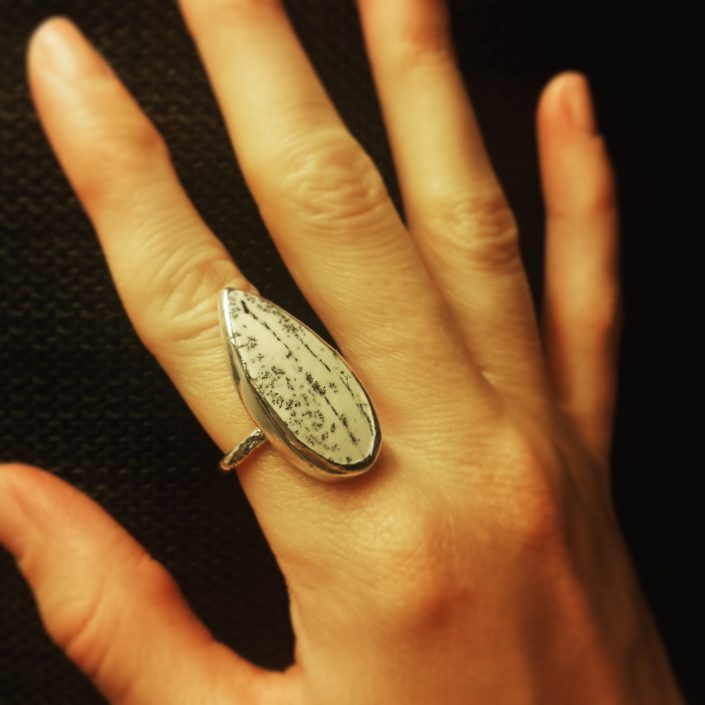 Photograph of dendritic opal ring