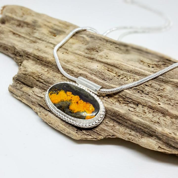 photograph of bumblebee jasper pendant